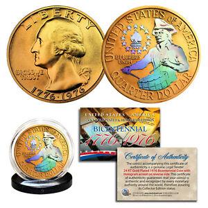 1976 Bicentennial Genuine U.S. Quarter Coin 24K Gold Plated Prism Hologram Combo