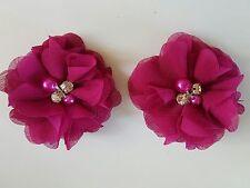 "2 Girls / Ladies small Fushia Pink 2"" Flower.Voile Hair Clip pearl diamante"