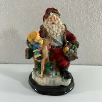 "Santa Claus Resin Figurine 6"" Child Deer Mail Bag Toys Christmas Holiday"