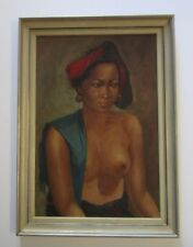 1930S TO 1940S PAINTING PORTRAIT GORGEOUS BALI WOMAN MODEL TROPICAL NUDE VINTAGE
