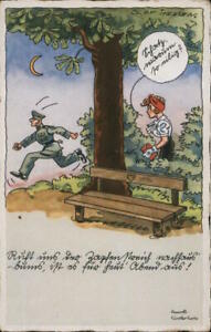 """WWII Nazi Military Comic,""""My Treasure,why are you in such a hurry?"""" Postcard"""