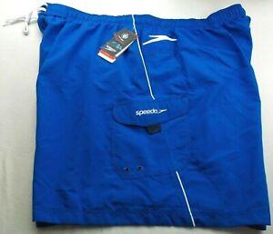 Speedo Men's Cargo Volley Swim Trunks Shorts Board Short 3X Blue White TURBO DRI