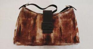 FENDI Authentic Baguette Calf Hair Animal Print Shoulder Bag Logo Flap