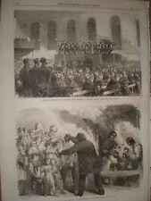 Delaware ministrels at Bethnal Green work house London 1867 old print ref Y4