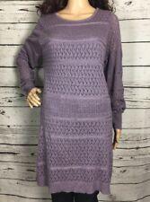 Venus Purple Open Knit Sweater Dress Tunic Fully Lined XLarge Lavender Crochet