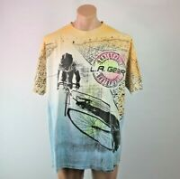 VTG 90s LA Gear Spell Out All Over Print Neon Single Stitch T-Shirt Sz L Cycling