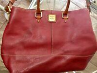 Dooney Bourke Pebbled Leather Chelsea Satchel Tote Shoulder Bag Burgundy Red