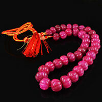 761.50 CTS EARTH MINED GENUINE RICH RED RUBY ROUND SHAPE CARVED BEADS NECKLACE
