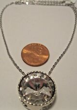 Necklace Silver Pave' Set Large Round Rhinestone Link Chain Statement NWT L747