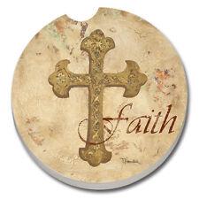 CounterArt Absorbent Stone Car Coaster Single (1) Inspiration Cross of Faith