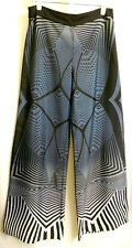 Bold Boho Geometric Wide Leg Skirt Pants  S  Black Silver Gray by Jealous Tomato