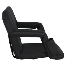 WIDE Portable Multiuse Adjustable Recliner Black Stadium Seat W/ Cup Pocket