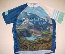 Glacier National Park Montana Men's Full Zipper Blue Green Cycling Jersey 2XL