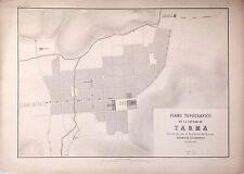 PERÚ,plano de la ciudad de Tarma.Paz Soldán.Geografía del Perú 1865.