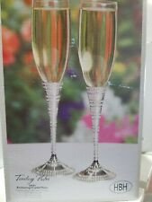 Enchanting crystal toasting Flutes, Champagne glasses, Wedding Toasting Glasses