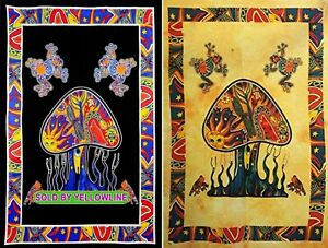 2 piece Mushroom Tapestry Bohomen Indian Wall Hanging Wholesale (77cmX102cm)BY-5
