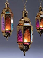 Moroccan style~Antique gold muti finish hanging glass lantern tealight holder