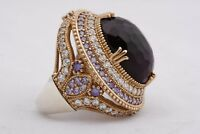 Turkish Handmade Jewelry Big Oval Amethyst Topaz 925 Sterling Silver Ring Size 9
