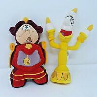 Disney Beauty & The Beast Lumiere & Cogsworth Plush Set Stuffed Doll
