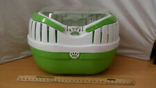 small animal pet carrier green and white