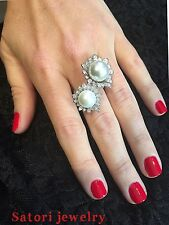 Platinum Sterling Silver Simulate Pearl & White Sapphire Shape Double Halo Ring