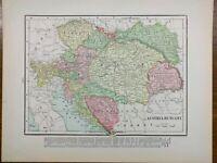 "1901 Vintage AUSTRIA & HUNGARY Map 14""x11"" ~ Old Antique Original BOSNIA CROATIA"