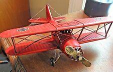 VINTAGE STYLE METAL BI-PLANE RED BARRON  MILITARY AIRCRAFT MODEL AIRPLANE DECOR