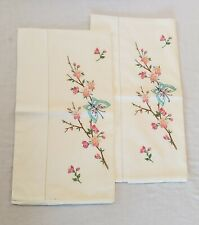 Pair Vintage Off White Hand Embroidered Pillow Cases Blue Butterfly Pink Flowers