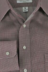 Daniel Cremieux Men's Maroon & White Micro Checker Cotton Dress Shirt 16.5 x 35
