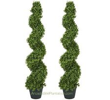 """2 ARTIFICIAL 4' 2"""" BOXWOOD SPIRAL TOPIARY IN OUTDOOR TREE POT PLANT BUSH PATIO"""