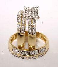 Gold & Diamond Trio Bridal Ring Wedding & Engegement Ladies & Men Set Brand New