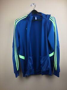 Adidas Men's XL Track Jacket Full Zip Blue Green Polyester