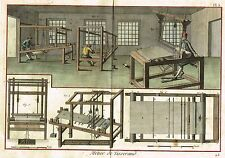"""Diderot's """"Enclyclopedie"""" -""""THE WEAVING BUSINESS - Pl. #3"""" -Hand-Col. Eng. -1751"""