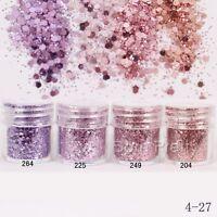 Pink Purple Glitter Dust Powder Hexagon Sheets  3D Decoration Nail Art
