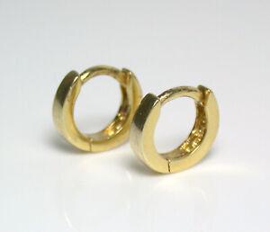 Beautiful and simple 9x2mm gold vermeil huggie earrings