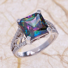 1.80ctw Cushion Cut Mystic Topaz Vintage Engagement Ring in 14K White Gold