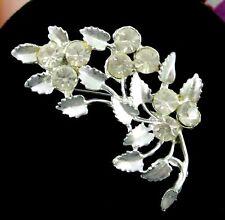 """RHINESTONE FLOWER and LEAVES BROOCH Vintage Pin Floral Leaf Silvertone 2"""""""