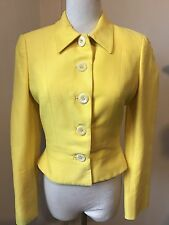 VERSUS GIANNI VERSACE Sz 26/40 Yellow Cotton Cropped Fitted Blazer Jacket