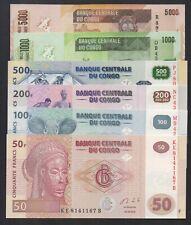 CONGO: Set 50-100-200-500-1,000-5,000 Francs 30.06.2013 Banknotes. UNC