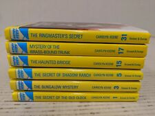 LOT 6 Nancy Drew GLOSSY YELLOW Cover Spines Books #1 3 5 15 17 31 Free Shipping!
