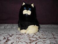 Original Takahashi (San Fran) Pottery Hand Decorated Black Cat Figurine/bank