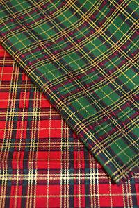 Christmas Metallic Tartan Check Red, Green 100% Cotton Fabric Print 135cm Wide