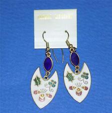Vintage  pretty white dangle cloisonne earrings
