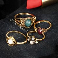 LC_ 4pcs / Set Donna Vintage Bohemien TURCA intagliato MIDI Knuckle Set anello