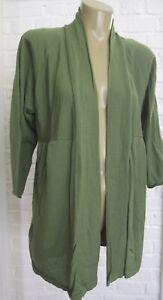 Eileen Fisher Grass Green Open Front Cardigan Sweater 100% Merino Wool M