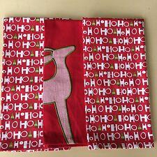 "3 Crate & Barrel Holiday Christmas Dishtowels 20 x 30"" Cotton Reindeer Ho Ho Ho"