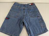 Tommy Hilfiger Jeans Carpenter Denim Shorts Vtg 90s Flag Logo Blue Size 36