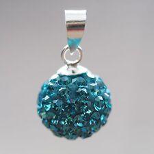 NEU 925 Silber 10mm ANHÄNGER 2mm STRASSSTEINE indicolite/blau KETTENANHÄNGER