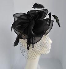 Silver grey/dusky pink/navy blue chiffon organza wedding fascinator/headband