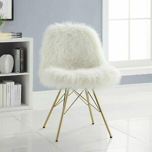 Remy Flokati Chair with Gold Metal Base New